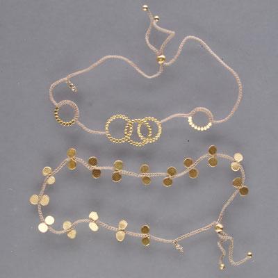 Armbänder, 750er Gold, Polyestergarn