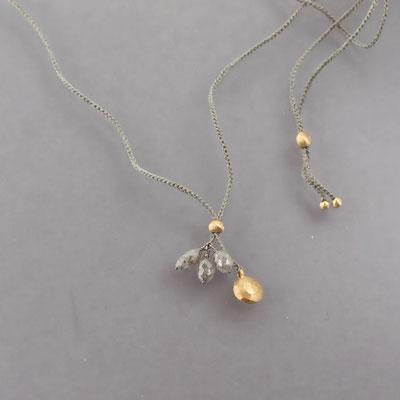 Collier, graue Diamanten, 750er Gold
