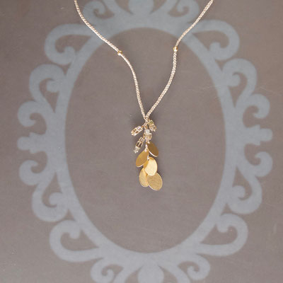 Collier, 750er Gold, Diamanten, Polyestergarn