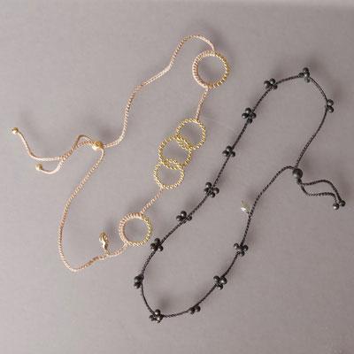 Armbänder, Collier, 750er Gold, geschwärztes Silber, Polyestergarn