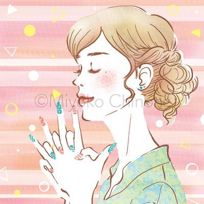ネイル 女性横顔 イラスト