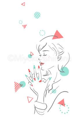 ネイルを楽しむ女性のイラスト
