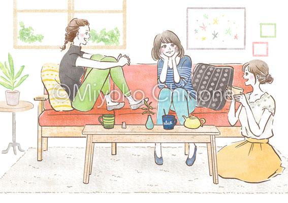 ガールズトークを楽しむ女子達のイラスト