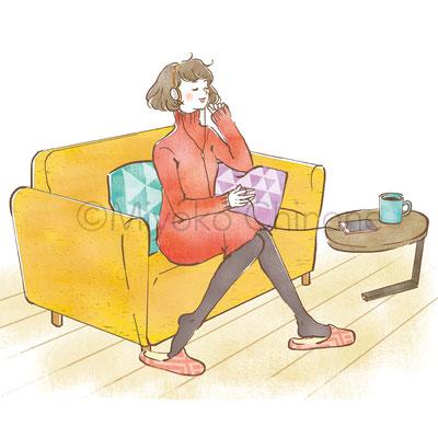 ソファ くつろぐ女性 イラスト