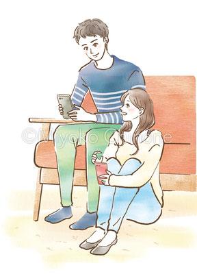 ソファでくつろぐカップルのイラスト
