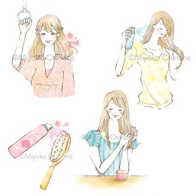 カネボウ化粧品SALA 髪コロン 店頭POP・Webサイト 梅雨対策コラムページ イラスト