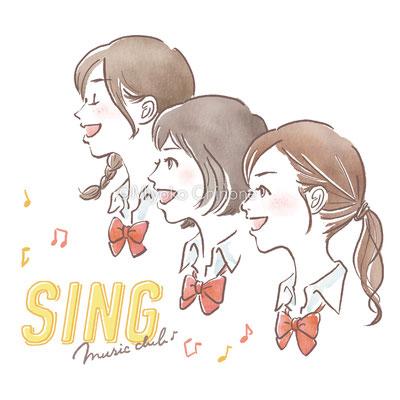 歌う女子高生のイラスト