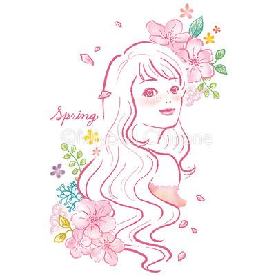 春の女性のイラスト