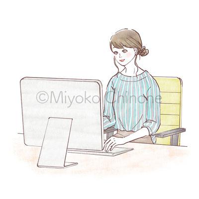 女性 お仕事 デスクワーク イラスト