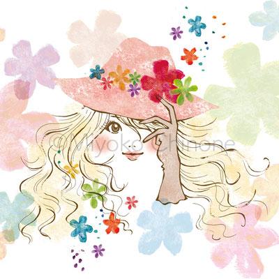 女性 花 イラスト
