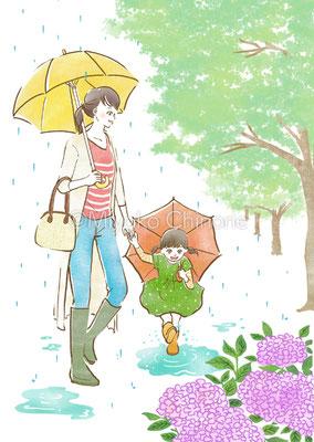 雨の日の親子のイラスト