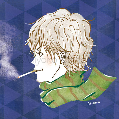 男性 横顔 タバコ イラスト