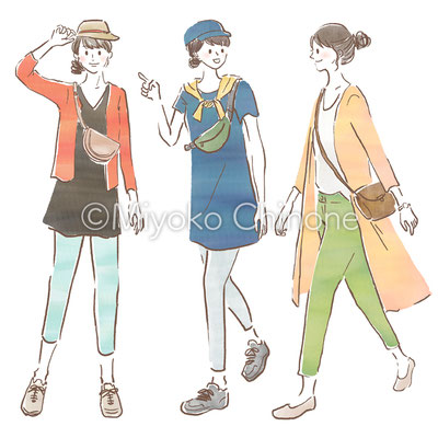 散歩している女性のイラスト