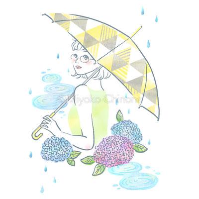 傘をさしている女性とあじさいのイラスト