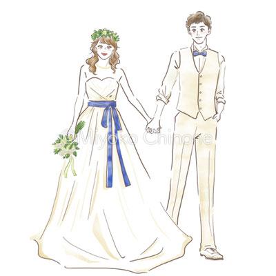 ウェディング新郎新婦のイラスト