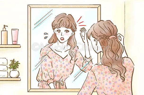 鏡で髪型を気にする女性のイラスト
