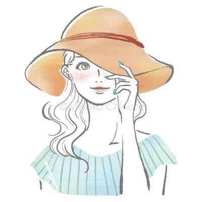 ぼうしをかぶった女性イラスト