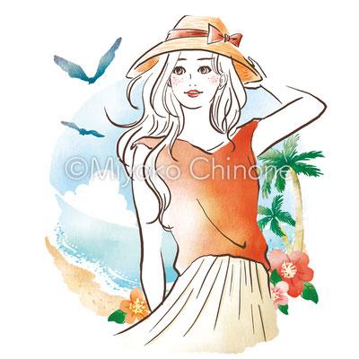 夏の海と女性のイラスト ガールズイラスト
