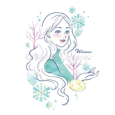 冬の女性のイラスト