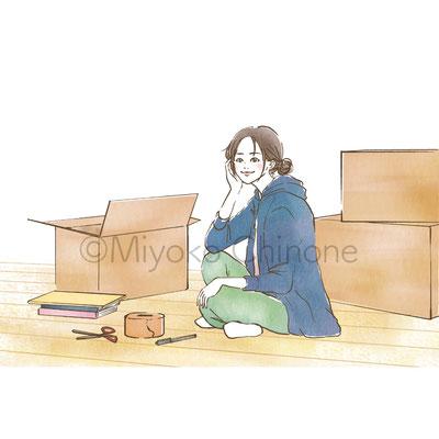 女性 引っ越し イラスト