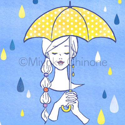傘をさした女性のイラスト