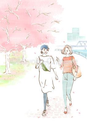 桜と散歩をする女性のイラスト