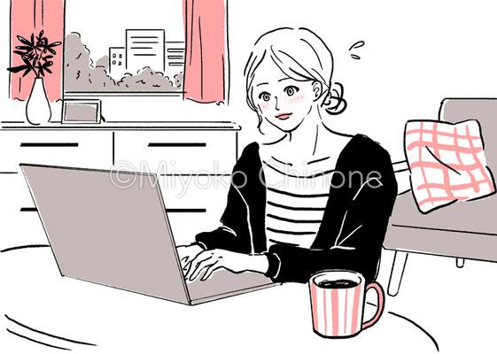 在宅ワークをしている女性のイラスト