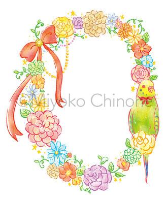 花輪と鳥のイラスト
