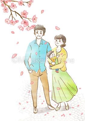 家族で桜を見ているイラスト