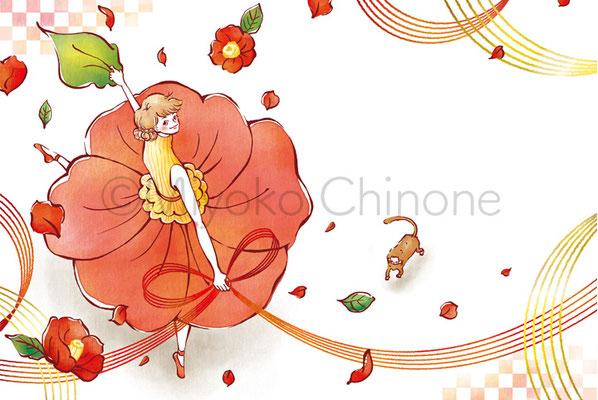 花 踊る女性 イラスト