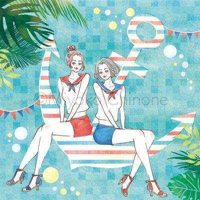 女性 セーラー服 夏 イラスト