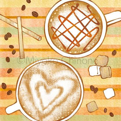 カプチーノとコーヒーのイラスト