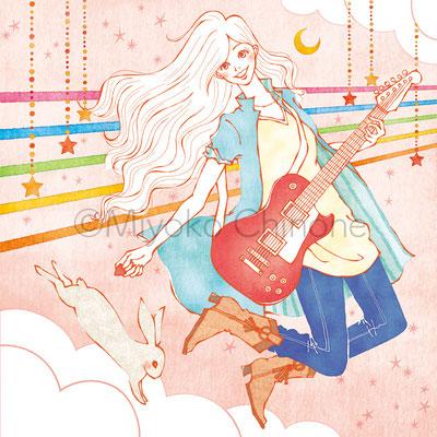 楽器 ギター 女性 イラスト