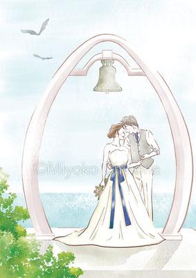 結婚式の新郎新婦 イラスト