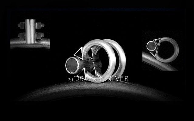 Profilring Geometrie - Sterling Silber