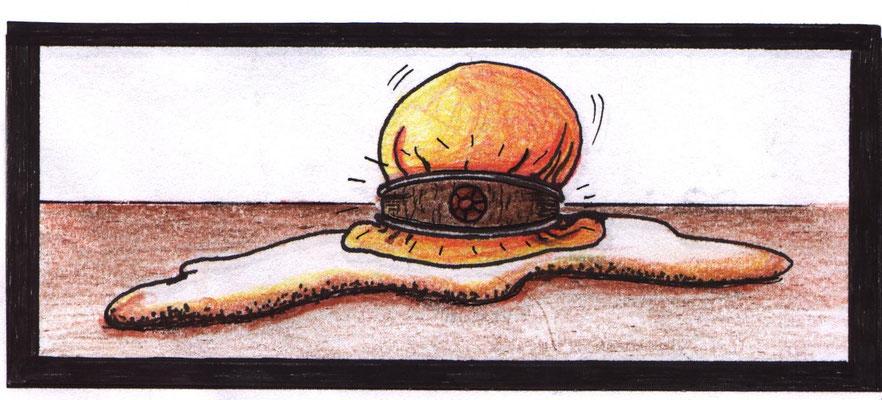 Miniaturzeichnungen Helferlein, Maße 4 x6 cm, Buntstift und Tusche