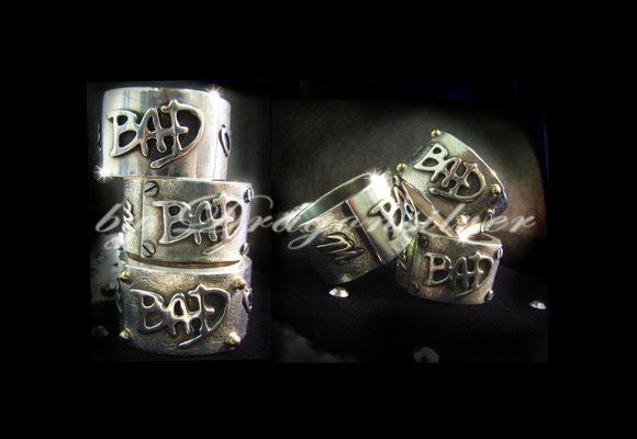 Michael Jackson Tribute Schmuck - Einzelstücke- Sterling Silber - Gold/Edelstahl Schrauben- Ring Bad