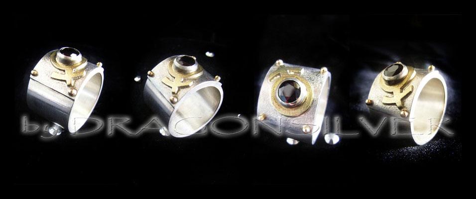 Ring Venus -Gelbgold - Sterling Silber - Granat