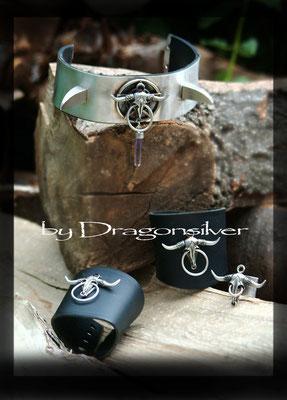 Set Wicca ,bestehend aus Kautschuk Armstulpen,Choker und Ring, 925er Sterling Silber, Amethyst, Granate