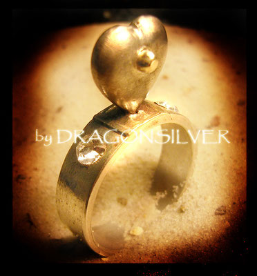 Ring Herzig - Gelbgold - Sterling Silber