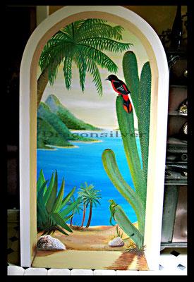 Caribic Torbogen, 180 x 80 cm, Acryl auf Holz