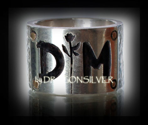 DM Ring - Gelbgold - Sterling Silber