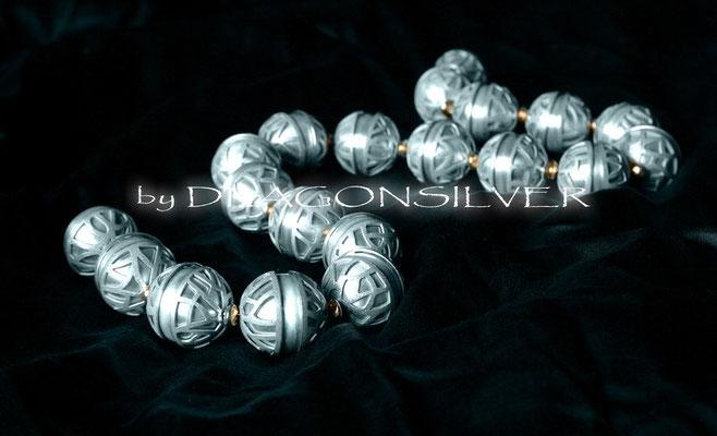 Kugel Collier - Sterling Silber - Gelbgold
