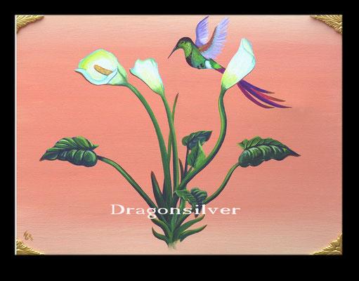 Kolibri und Blume, Acryl auf Leinwand 60 x 80 cm