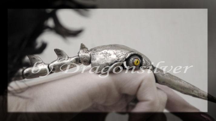 Vollbeweglicher 925er Sterling Silbervogel mit Glasaugen...