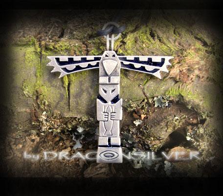 Totem Indianer Anhänger - Sterling Silber