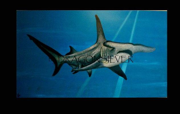 Hammerhai, Acryl auf Holz 200 x 100 cm