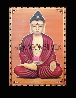Buddha, Acryl auf Leinwand 80 x 100 cm mit Stcukrahmung und Gips Arkanten