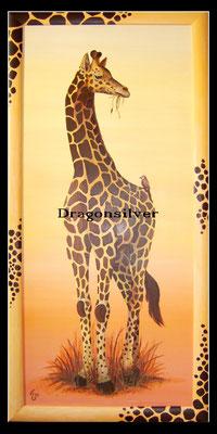 Vogel mit Giraffe, 150 x 80 cm Acryl auf Holz
