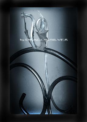 Cocktaillöffel Dragonsilver, 925er Sterling Silber, Länge ca 23 cm